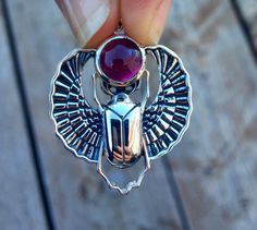 Sterling Silver Scarab Pendant with Pink Tourmaline Gem