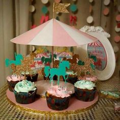 @AranzaDrive ❁ Carousel Birthday Parties, Carousel Party, Circus Theme Party, Unicorn Birthday Parties, Unicorn Party, Girl Birthday, Carousel Cupcakes, Girls Party Decorations, Horse Party