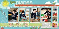 """Planes, trains & automobiles"" by Bituin, as seen in the Club CK Idea Galleries. #scrapbook #scrapbooking #creatingkeepsakes"