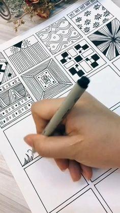 Easy Doodle Art, Doodle Art Designs, Doodle Art Drawing, Zentangle Drawings, Mandala Drawing, Doodle Patterns, Zentangle Patterns, Zentangles, Instruções Origami