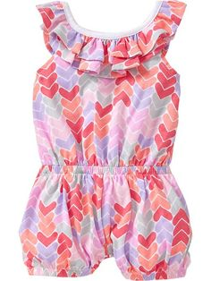 So adorable- Printed Ruffle-Neck Romper. Love the hearts!
