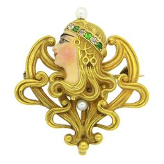 Art Nouveau Enamel Garnet Pearl Diamond Brooch Pendant | From a unique collection of vintage brooches at https://www.1stdibs.com/jewelry/brooches/brooches/