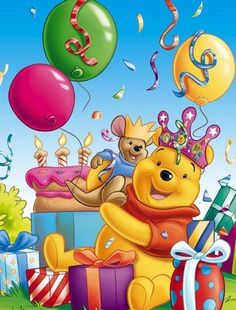 Popular happy birthday wishes disney friends 64 Ideas Winnie The Pooh Pictures, Cute Winnie The Pooh, Winnie The Pooh Christmas, Winnie The Pooh Birthday, Winnie The Pooh Friends, Mickey And Friends, Happy Birthday Video, Happy Birthday Images, Happy Birthday Cards