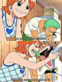 Are you sure this is edible?, quit being such a baby and eat it!, Nami, Zoro, funny, burned food, text, quote, comic; One Piece