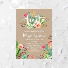Fiesta Bridal Shower Invitation and Thank You Card Set, Edit.- Fiesta Bridal Shower Invitation Printable Succulent Bridal Shower Invite Cactus Fiesta Shower Invite Kraft Paper Watercolor Succulent Floral by MossAndTwigPrints on Etsy - Bridal Shower Invitation Wording, Bridal Shower Favors, Party Invitations, Invitation Ideas, Invitation Cards, Mexican Wedding Invitations, Floral Invitation, Invitation Templates, Trendy Baby