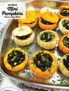Filled with black rice, these vegan Stuffed Mini Pumpkins are sure to be a hit at Halloween parties! They're great for Thanksgiving, too. Pumpkin Recipes, Fall Recipes, Holiday Recipes, Vegan Pumpkin, Vegan Appetizers, Vegan Snacks, Vegan Food, Healthy Food, Delicious Vegan Recipes