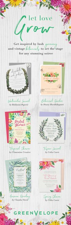 Let love bloom with a garden inspired wedding theme. http://Greenvelope.com offers chic, paperless invitations designed with your favorite florals in mind.