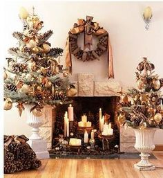 Christmas Trees in Classic Garden Urns..who says you need a traditional tree stand