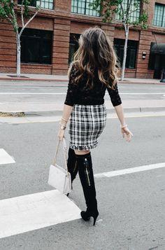 Top - Forever21 / Skirt - ZARA / Boots - Adrienne Vittadini / Bag - Kate Spade  Downtown San Diego, CA