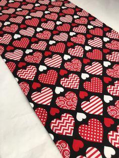 Valentine Heart Table Runner - Red and Black Heart Table Runner