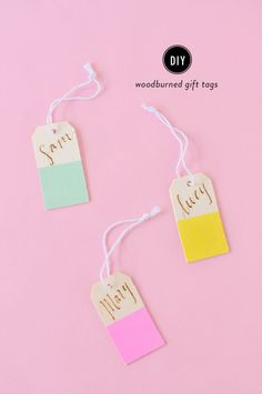 Wood-burned gift tags: http://www.stylemepretty.com/living/2015/03/20/diy-woodburned-gift-tags/