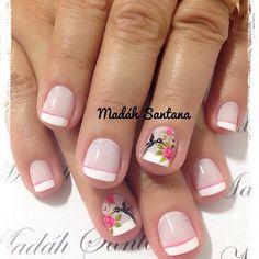 Imagen relacionada Gelish Nails, Diy Nails, Cute Nails, Pretty Nails, Crazy Nails, Oval Nails, Beautiful Nail Designs, Gel Nail Art, Flower Nails