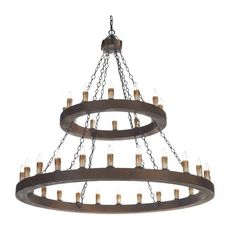 Rustic Candle Chandelier, Wooden Finish Frame. Double Insulated