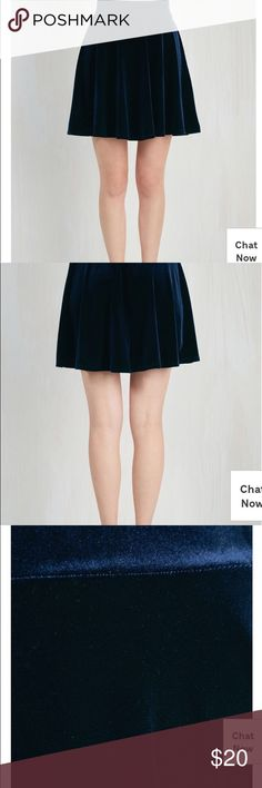 1x dark blue velvet A-line Modcloth skirt In great condition! It's unlined but it's a thicker velvety fabric (polyester/spandex) elasticize waist and about 22 inches long Skirts A-Line or Full