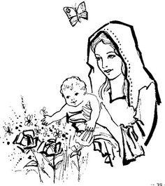 Lovely Mary and Jesus in a garden Catholic Coloring Page Coloring Pages For Kids, Coloring Sheets, 1st Grade Activities, Mary And Martha, Mary And Jesus, Catholic School, Holy Spirit, Memes, Drawings