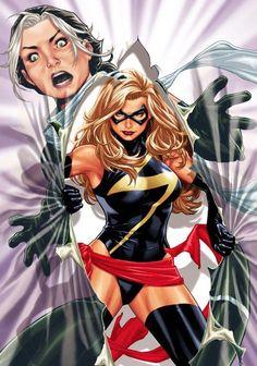 Ms. Marvel vs. Rogue by Mark Brooks