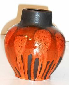 Vintage Orange German Steuler Art Pottery Vase Glazed Ceramic Fat Lava | eBay