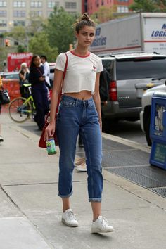 Taylor Hill on the street at New York Fashion Week. Photo: Angela…