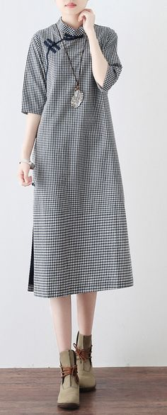 new 2018 blue white plaid linen dresses