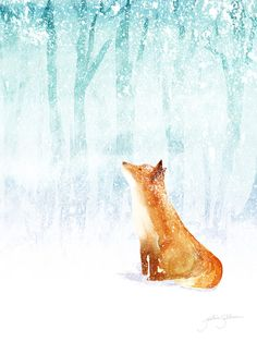 Winter Fox Art Print - Jackie Sullivan, Society6