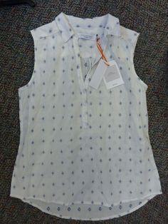 07ca48cc363 BNWT Ladies John Lewis Pure Cotton Sleeveless Shirt White with Blue Detail  10  fashion