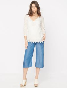 A Pea in the Pod Luxe Essentials 3/4 Sleeve Shirring Detail Maternity Blouse