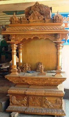 Temple Design For Home, Indian Home Design, Home Temple, Mandir Design, Pooja Room Design, Wooden Door Design, Wooden Doors, Pooja Mandir, Statue Tattoo