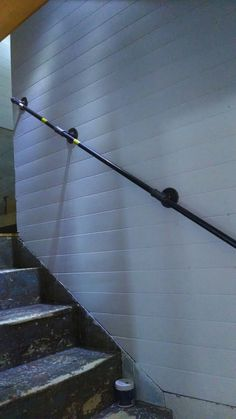 """Stairs + Pipe = Rail, stair rail out of 1/2"""" pipe"""