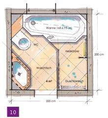 Badplanung Beispiel 7 Qm Freistehend Badewanne Mit Wc-bidet ... Badezimmer Grundriss Beispiele