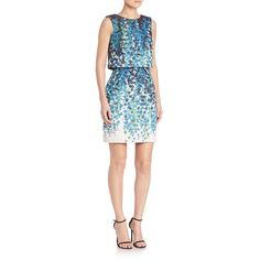 ML Monique Lhuillier Pop Over Faux Two-Piece Dress ($630) ❤ liked on Polyvore featuring dresses, apparel & accessories, garden, floral print dress, floral dress, slimming dresses, floral pattern dress and ml monique lhuillier dress