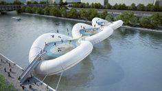 A trampoline bridge across the River Seine near to the existing Bir-Hakeim bridge