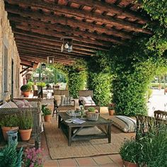 12 Pergola Patio Ideas that are perfect for garden lovers! Mediterranean Living Rooms, Mediterranean Decor, Outdoor Rooms, Outdoor Gardens, Outdoor Decor, Outdoor Seating, Outdoor Living Spaces, Outdoor Balcony, Outdoor Lounge