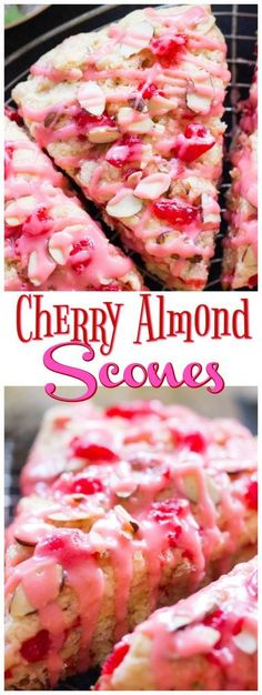 Tender, flaky scones, infused with almond extract and loaded with maraschino cherries, these Cherry Almond Scones are also topped with a cherry-almond glaze!