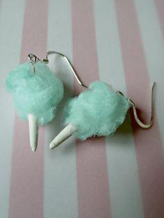 Miniature Food Jewelry Cotton Candy Earrings in blue