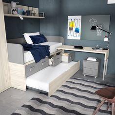 Grupo Exojo - Catálogo UP18  #mueblejuvenil #junior #deco #mobiliario Room Ideas Bedroom, Small Room Bedroom, Small Rooms, Kids Bedroom, Bedroom Decor, Tiny Spaces, Kids Room Design, Home Room Design, Bed Design