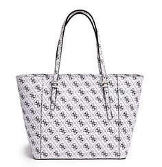 Women's Top-Handle Handbags - GUESS Womens Delaney Quattro G Small Classic Tote White * Click image for more details.