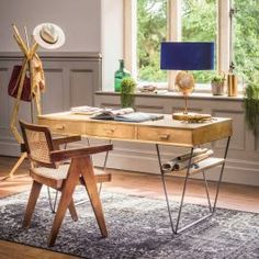 Slightly textured with a dull sheen, this desk boasts a hammered, brass-mounted finish with iron hairpin legs that support two brass shelves. Unusual Furniture, Furniture Styles, Home Furniture, Hairpin Leg Desk, Desk Storage, Drawer Handles, Furniture Inspiration, House Rooms, Hair Pins
