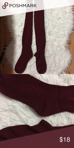 NWOT Thigh/ knee High Burgundy Socks Cleaning out my closet and found this, never been worn'. Any questions please ask! Thigh/ knee high. Burgundy. New. No design, plain Accessories Hosiery & Socks