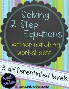 Today I'm writing about a simple idea that makes equations easy for kids… Fun Math, Math 8, Math Class, Math Teacher, Teacher Stuff, Math Education, Guided Math, Two Step Equations, Solving Linear Equations