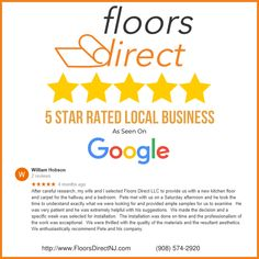 5 Star Google review for Floors Direct LLC in New Jersey from client William Hobson. Home Carpet, New Carpet, Flooring Store, Carpet Flooring, Floors Direct, Giving Quotes, Removing Carpet, Flooring Companies, Home Repairs