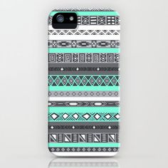 Grey Mint Tiffany Aztec Pattern iPhone iPhone & iPod Case by RexLambo