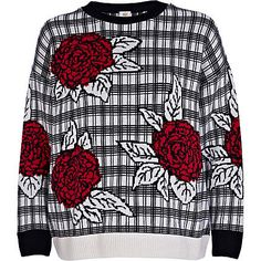 Mix floral + checks with this check flower print jumper #riverisland #check