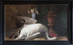 """19TH CENTURY STILL LIFE OIL ON CANVAS A dead swan lying in front of a wild boar with an 18th century faience vase filled with roses and a water fountain in the background.  France, mid 19th century. In a 16th century style frame.  HEIGHT: 106.5 cm (42"""") WIDTH: 171 cm (67¼"""")"""