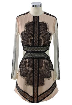 Eyelash Lace Mesh Dress in Nude - Retro, Indie and Unique Fashion