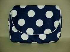 Christian  Dior Navy And White Polka Dot Cosmetic Bag With Tags And Mirror #ChristianDior #CosmeticBags