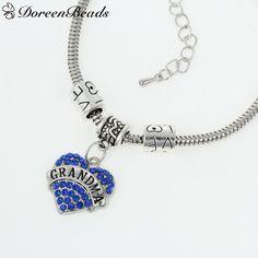 "Antique Silver European Snake Chain Charm Bracelets W/Heart Pendant Message""Grandma"" & ""Love"""