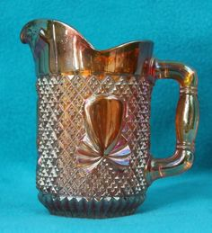 Stunning Vintage Small Amber Iridescent Carnival Glass Creamer