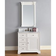 """James Martin Savannah 36"""" Traditional Single Sink Bathroom Vanity in Cottage White 238-104-V36-CWH at DiscountBathroomVanities.com"""