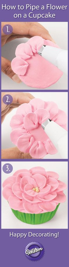 How to pipe a Flower on a Cupcake http://tiramisucakerecipes.blogspot.com