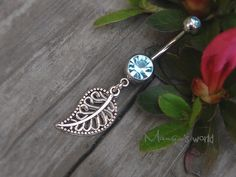 Leaf Belly Button Ring- Crystal Belly Ring- Silver Leaf Charm Dangle Navel Piercing Bar Barbell- B010 on Etsy, $5.98